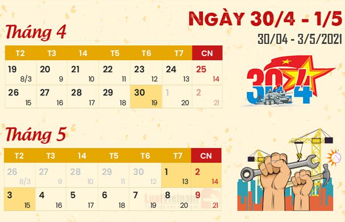 lịch nghỉ lễ 30-04-2021
